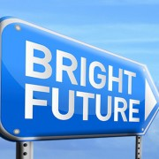 Image with sign depicting bright future ahead